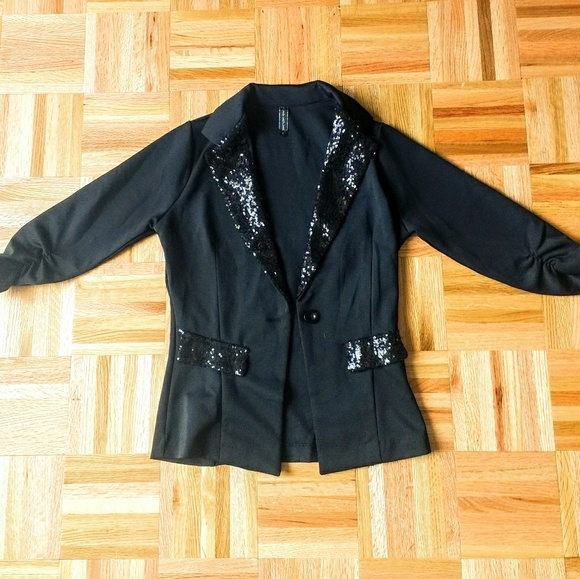 Black Sequin Stretch Blazer Jacket NWOT size small